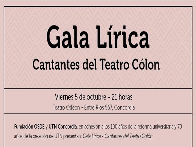 Cantantes del Colón realizarán una Gala Lírica en el Teatro Odeón.