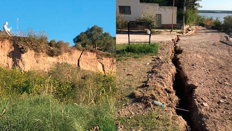 Deslizamientos en Diamante: Ya se desplazó uno de los bloques de la barranca