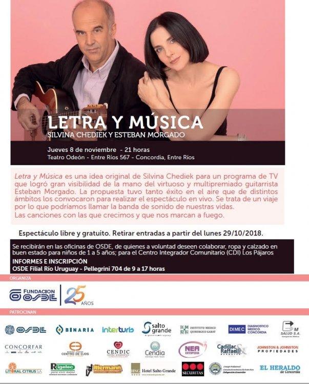 """La Fundación OSDE presenta """"Letra y Música"""" en el Odeón de Concordia."""