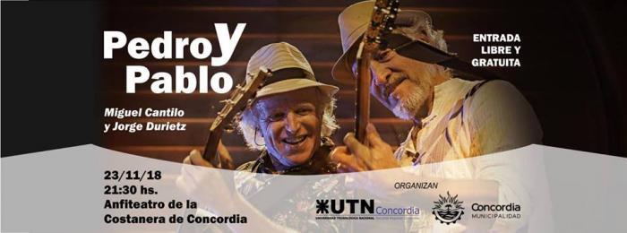 """La UTN Concordia presenta al Dúo """"PEDRO Y PABLO"""" en la Costanera."""